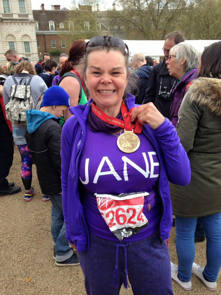 Jane Lelean celebrating running the 2016 London Marathon